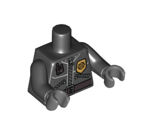 LEGO Minifigure Torso with Zippered Jacket with Sheriff's Badge and Walkie-Talkie with Black Arms and Dark Stone Gray Hands (76382 / 88585)