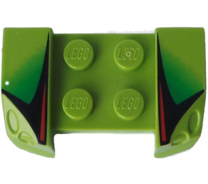 LEGO Mudguard with Overhanging Headlights 2 x 4 with Red, Black and Green Pattern (44674)