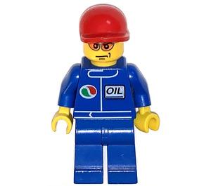 LEGO Octan Oil uniform, Red Short Bill Cap, Orange Sunglasses Town Minifigure