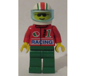 LEGO Octan Racing Crew with White, Red and Green Striped Helmet Minifigure