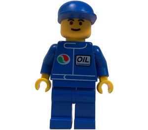 LEGO Octan Worker with Blue shirt with Small Octan Logo and Oil Nametag, Blue Legs, and Blue Cap Minifigure