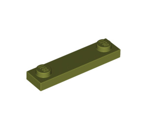 LEGO Olive Green Plate 1 x 4 with Two Studs without Groove (92593)