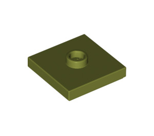 LEGO Olive Green Plate 2 x 2 with Groove and 1 Center Stud (87580)
