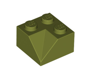 LEGO Olive Green Slope 2 x 2 (45°) with Double Concave (Rough Surface) (3046)