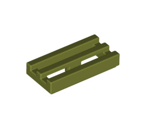 LEGO Olive Green Tile 1 x 2 Grille (with Bottom Groove) (2412)