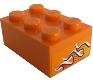 LEGO Orange Brick 2 x 3 with Sticker from Set 8641
