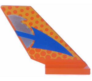 LEGO Orange Shuttle Tail 2 x 6 x 4 with Blue Arrow and Dots