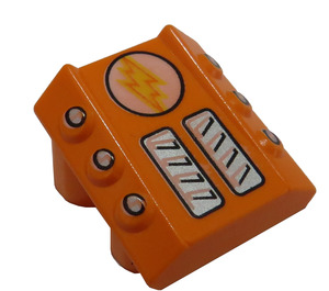 LEGO Orange Slope 1 x 2 x 2 with Flanges and Pistons with Flanges and Pistons with Light / Lightning Bolt