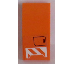 LEGO Orange Slope 2 x 4 Curved with Orange and White Pattern and Black Box Sticker