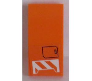 LEGO Orange Slope Curved 4 x 2 with Orange and White Pattern and Black Box Sticker