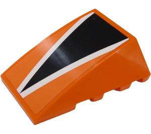 LEGO Orange Wedge 4 x 4 Triple Curved without Studs with Black Triangle and White Lines Sticker