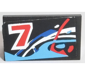 LEGO Panel 1 x 2 x 1 with Red '7', Blue, Red and White Waves Model Left Side Sticker from Set 8223 without Rounded Corners (4865)