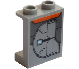 LEGO Panel 1 x 2 x 2 with Armor Plate (Left) Sticker with Side Supports, Hollow Studs (6268)