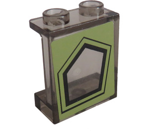 LEGO Panel 1 x 2 x 2 with Black Pentagonal Window on Olive Green Background Sticker with Side Supports, Hollow Studs (6268)
