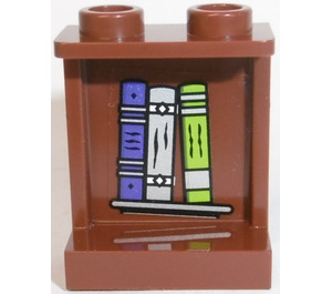 LEGO Panel 1 x 2 x 2 with Books (Inside) Sticker with Side Supports, Hollow Studs (6268)