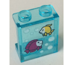 LEGO Panel 1 x 2 x 2 with Fish tank sticker with Side Supports, Hollow Studs (6268)
