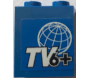 LEGO Panel 1 x 2 x 2 with Globe and TV 6  pattern Sticker with Side Supports, Hollow Studs (6268)