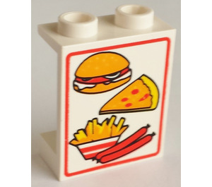 LEGO Panel 1 x 2 x 2 with Hamburger, Pizza, Fries and Sausages without Side Supports, Hollow Studs (4864)
