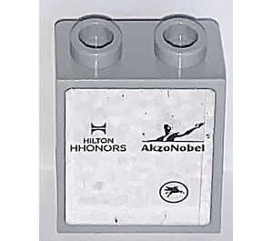 LEGO Panel 1 x 2 x 2 with Hilton HHONORS and AkzoNobel Sticker with Side Supports, Hollow Studs (6268)