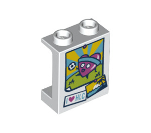 LEGO Panel 1 x 2 x 2 with 'I <3 HLC' heart playing football with Side Supports, Hollow Studs (6268 / 39249)