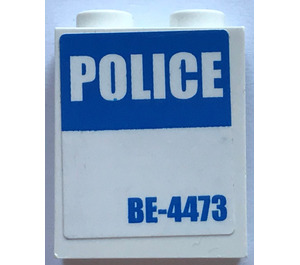 """LEGO Panel 1 x 2 x 2 with """"POLICE"""" and """"BE-4473"""" Sticker with Side Supports, Hollow Studs (6268)"""