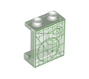 LEGO Panel 1 x 2 x 2 with Star chart schematics in Green with Side Supports, Hollow Studs (6268 / 36958)
