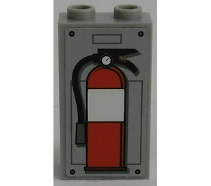 LEGO Panel 1 x 2 x 3 with Fire Extinguisher Sticker from Set 7596 with Side Supports - Hollow Studs (74968)