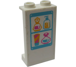 LEGO Panel 1 x 2 x 3 with Perfume Bottles Sticker with Side Supports - Hollow Studs (35340)