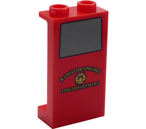 """LEGO Panel 1 x 2 x 3 with """"RADIATOR SPRINGS"""" and """"FIRE DEPARTMENT"""" Sticker with Side Supports - Hollow Studs (35340)"""