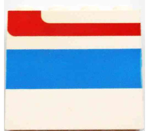 LEGO Panel 1 x 4 x 3 Right with Red/Blue Stripe without Side Supports, Solid Studs (4215)