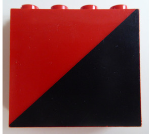 LEGO Panel 1 x 4 x 3 with Lower-Right Black Triangle without Side Supports, Solid Studs (4215)