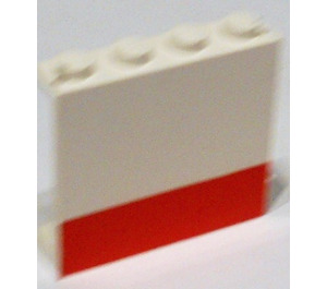 LEGO Panel 1 x 4 x 3 with Red Stripe without Side Supports, Solid Studs (4215)