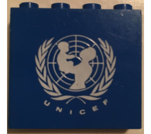 LEGO Panel 1 x 4 x 3 with UNICEF Logo without Side Supports, Solid Studs (4215)