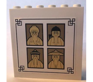 LEGO Panel 1 x 6 x 5 with 4 sensei portraits Sticker (35286)