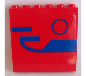 LEGO Panel 1 x 6 x 5 with Blue Pattern Sticker (35286)