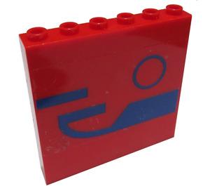 LEGO Panel 1 x 6 x 5 with Blue Pattern Sticker (35286)