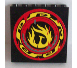 LEGO Panel 1 x 6 x 5 with Control Panel and Screen on Inside and Yellow Phoenix Flames on Outside Sticker (35286)