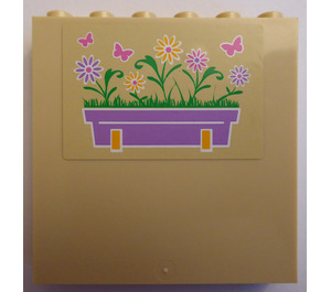 LEGO Panel 1 x 6 x 5 with Flower Box and Butterflies (Left) Sticker (59349)