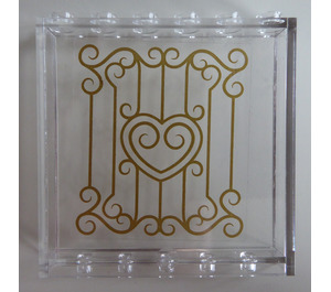 LEGO Panel 1 x 6 x 5 with Gold Swirls and Heart Sticker (35286)