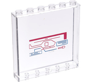 LEGO Panel 1 x 6 x 5 with Helicopter & Display Screen Sticker from Set 76007 (59349)