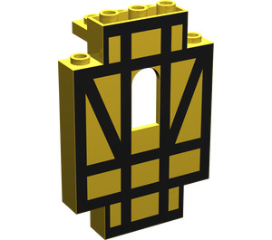 LEGO Panel 2 x 5 x 6 Wall with Black Half-Timber (4444)