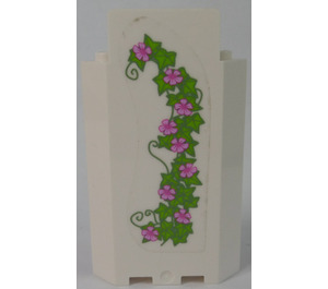 LEGO Panel Wall 3 x 3 x 6 Corner with Curved Ivy and Flowers (Left) Sticker without Bottom Indentations (87421)