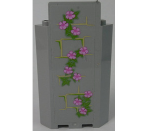 LEGO Panel Wall 3 x 3 x 6 Corner with Ivy Trunks with 10 Magenta Flowers (Left) Sticker without Bottom Indentations (87421)