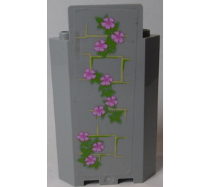LEGO Panel Wall 3 x 3 x 6 Corner with Ivy Trunks with 10 Magenta Flowers (Right) Sticker without Bottom Indentations (87421)