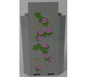 LEGO Panel Wall 3 x 3 x 6 Corner with Ivy Trunks with 8 Magenta Flowers (Left) Sticker without Bottom Indentations (87421)