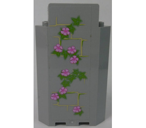 LEGO Panel Wall 3 x 3 x 6 Corner with Ivy Trunks with 8 Magenta Flowers (Right) Sticker without Bottom Indentations (87421)
