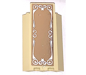 LEGO Panel Wall 3 x 3 x 6 Corner with Ornamented Mirror Sticker without Bottom Indentations (87421)