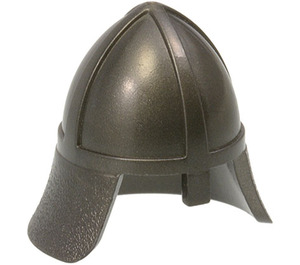 LEGO Pearl Dark Gray Knights Helmet with Neck Protector (3844)