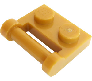 LEGO Pearl Gold Plate 1 x 2 with Handle (Closed Ends) (48336)