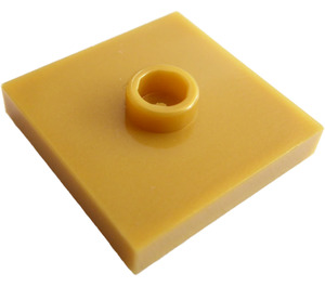 LEGO Pearl Gold Plate 2 x 2 with Groove and 1 Center Stud (23893 / 87580)